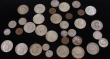 LOT INCLUDING 16 FOREIGN COINS, (17) 40% KENNEDY HALF DOLLARS,  AND 2 SILVER QUARTERS