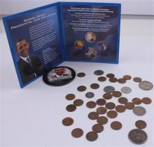 LOT INCLUDING CANADIAN COINS, FRANKLIN AND KENNEDY HALF DOLLARS, 1 MERCURY DIME,  24 WHEAT PENNIES, AND OBAMA COIN SET AND BUTTON