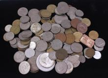 LOT FOREIGN COINS, 2 HALF DOLLARS, 2 QUARTERS, 8 DIMES, AND 1 PENNY
