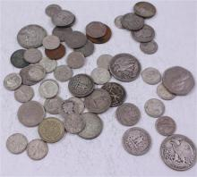 LOT INCLUDING 7 FOREIGN COINS, 3 SILVER HALF DOLLARS, 9 SILVER QUARTERS, 24 DIMES, AND 7 BUFFALO NICKELS   **Not Available For O...