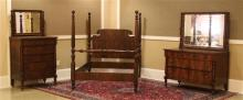 1920s ROSEWOOD VENEER 3 PIECE BEDROOM SUITE INCLUDING FULL SIZE POSTER BED WITH RAILS, TALL CHEST, AND DRESSERS WITH MIRRORS, LARGE...