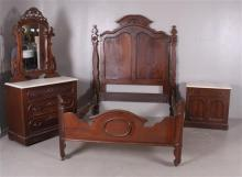 WALNUT VICTORIAN 3 PIECE BEDROOM SUITE WITH WHITE MARBLE DRESSER WITH MIRROR, WASHSTAND, AND HANGING HEADBOARD BED, HEADBOARD IS 62