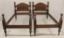 PAIR OF 1920s MAHOGANY CANNON BALL POST TWIN BEDS, HEADBOARD IS 42