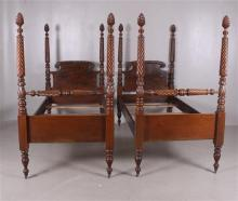 PAIR OF EARLY 20TH CENTURY MAHOGANY TALL POST TWIN BEDS WITH ACANTHUS LEAF AND ROPE CARVING, HEADBOARD IS 40