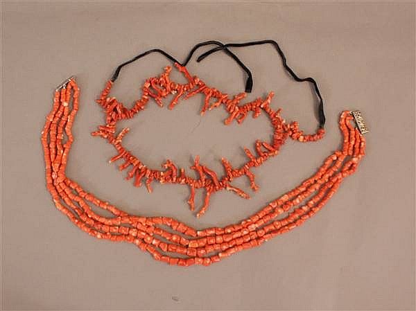 (2) MULTI-STRAND CORAL BRANCH NECKLACES