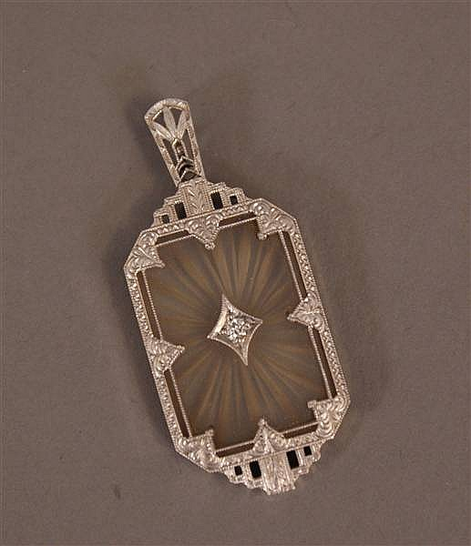 14 K WHITE GOLD VINTAGE CRYSTAL PENDANT WITH DIAMOND ACCENT