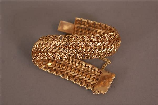 18 K YELLOW GOLD FANCY LINK BRACELET