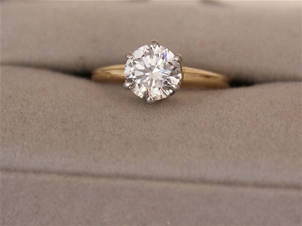UNMARKED (TESTED 10 K) TWO TONE 1.59 CT EUROPEAN CUT DIAMOND SOLITAIRE RING