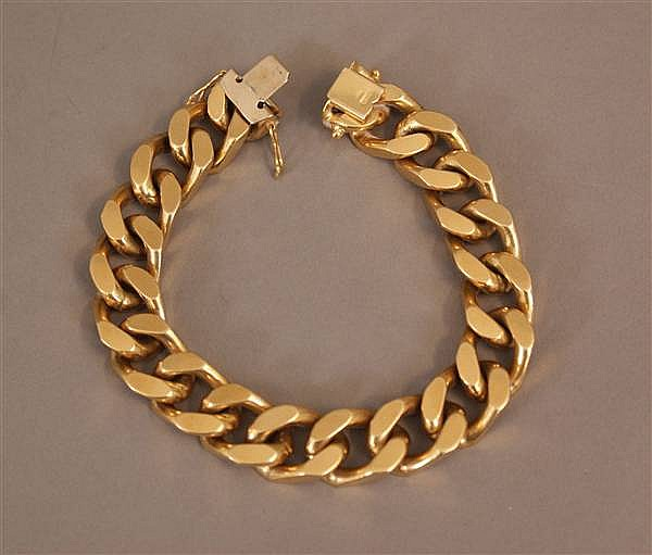18 K YELLOW GOLD HEAVY CURB LINK BRACELET