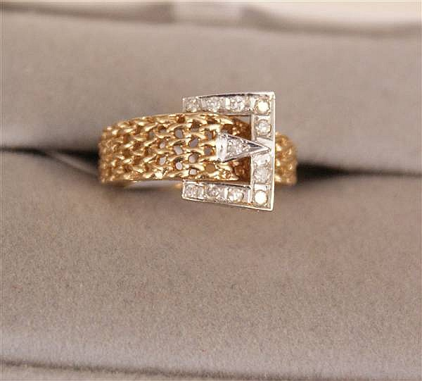 14 K YELLOW GOLD TWO TONE BUCKLE RING WITH DIAMOND ACCENTS