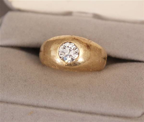 UNMARKED (TESTED 14 K) YELLOW GOLD GYPSY DOME RING WITH 1.28 CT EUROPEAN CUT DIAMOND