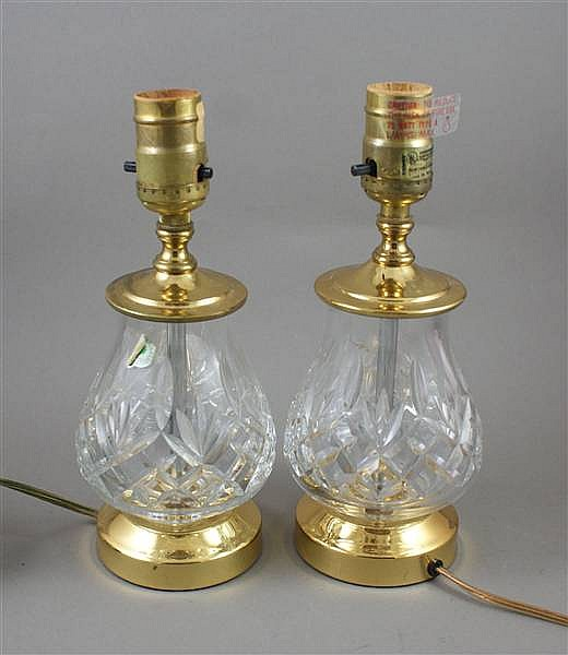 PAIR WATERFORD CRYSTAL TABLE LAMPS