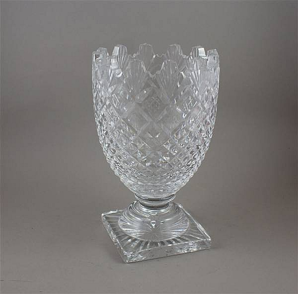 WATERFORD CRYSTAL VASE ON TIERED VASE