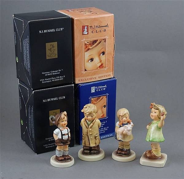 """(4) HUMMEL FIGURINES """"PIGTAILS"""" #2052 2 MARK, """"FOR KEEPS"""" #630 2 MARK, """"TOO SHY TO SING"""" #845 8 MARK, """"FOREVER YOURS"""" #793 2 MARK, 2 1/2"""" TO 4 1/2""""H WITH BOXES"""