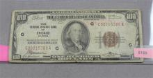 SERIES 1929 $100 NATIONAL CURRENCY FEDERAL RESERVE  BANK OF CHICAGO