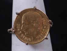 1945 2 PESOS COIN RING, COIN WEIGHT 1.66 g, .900 GOLD, IN 10K GOLD SETTING, TOTAL WEIGHT 4.4 g