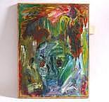 Maleri: Komposition med figurer, 45 x 60 cm, sign.