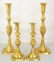 Two Pairs 19thc Antique Brass Candlesticks. Height 12.5 & 9 inches. (4 Items)