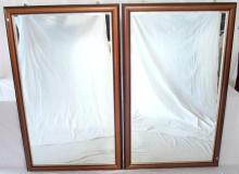 Pair Antique Style Mahogany Bevelled Wall Mirror. 20thc. Height 59 in. Width 36 in. (2 Items)
