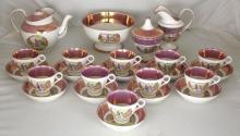 Scarce Antique Sunderland Pink Luster 24 Piece Tea Set Circa 1820-1840.
