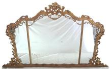 Antique Giltwood Overmantle Mirror.19thc. Height 58 in. Width 102 in.
