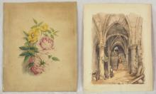 Antique Watercolours on Card. Study of Roses Signed E.B.H. 8 x 10in. & Collecting Wine in a Chateau's Cellar. Signed in pencil E.A.S. 7 1/2 x 10 in. (2 Items)