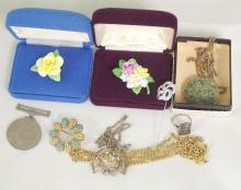 Royal Albert Brooches x 2 Boxed. WWII Defence Medal and a Bag of Jewellery.