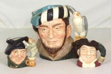 Royal Doulton Character Jugs. 'The Falconer'Large. 'Tam O'Shanter' Small. 'Mine Host' Small. (3 Items)