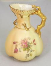Royal Worcester Blush Ivory Floral Jug c.1913. Height 5 1/2 inches.