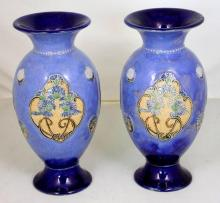 Royal Doulton Pair of Floral Stoneware Vases by E Violet Hayward. Height 11 inches.