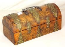 Antique Victorian Burr Walnut Dome Top Needlework Casket.19thc.  Profusely decorated with ornate brass mounts. Working lock with key. 10 x 4.5 inches.