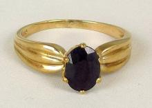 9ct Gold Sapphire Dress Ring. Hallmarked Sheffield. Size 0. Boxed