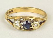 9ct Gold Diamond & Sapphire Dress Ring. Size N. Hallmarked London. Boxed.