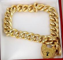 Gold 9ct Bracelet with Safety Chain. Hallmarked Birmingham. Length 7 inches. 14.6 gms