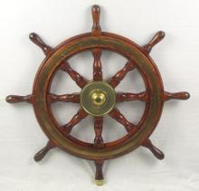 Vintage Ships' Wheel by Simpson Lawrence. 20thc. Diameter 30 inches. Center boss shaft diameter 1.25 inches (Double key)