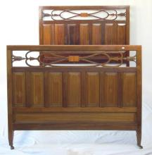 Edwardian Carved Mahogany/String Inlaid Double Bed. Circa 1900. Complete with side rails. Height 54 in. Matress size 74 x 54 inches.