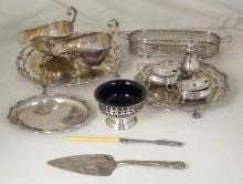 Walker & Hall Silver Plate Gravy Boats x 2,Wine Tray,Pepper Pot,Salts x 2. Plus other good makes. (12 Items)