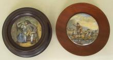 Antique Prattware Pot Lids, 'The Shrimpers' and 'Uncle Toby'. 19thc. Both framed. Diameter 4 inches. (2 Items)
