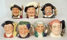 Collection Royal Doulton Small Character Jugs.20thc. D6453,D6454,D6461,D6505,D6574,D6577 & D6579. All 1st Quality. (7 Items)