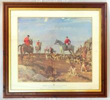 Sir A. J. Munnings 'Hunting at Zenner Hill, Cornwall' Hunting Giclee Print. Framed under glass. 47 x 43 inches.