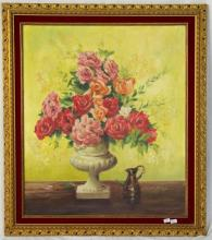 FRANK. K. CAUNCE Oil on Canvass Still Life 'Roses'. Signed & dated for 1973. Framed  21 x 25 inches.
