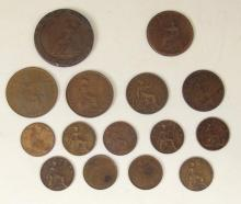 Great Britain Copper Coins Georgian to KG V. (16 Items)