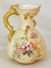 Royal Worcester Blush Ivory Floral Ewer/Jug c.1899. Factory Marks to base. With original Purchase receipt for £150 Dated 1986. Height 7.5 inches.