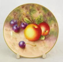 Royal Worcester 'Roberts' Pin Dish with Fallen Fruits Decoration c.1940. Artist Signature 'W.Roberts', Factory Marks to Base. Diameter 3.5 inches.