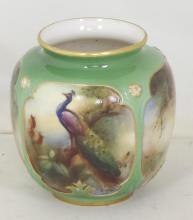 Royal Worcester Hadleys Vase with Peacock Decoration c.1905. Factory Marks to base. Height 3.25 inches.