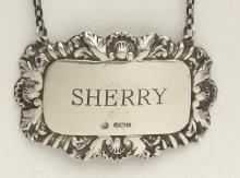 Silver Sherry Decanter Label by Francis Howard. 20thc. Hallmarked Sheffield. 13 gm.