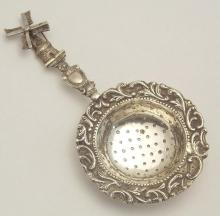 Dutch Silver Windmill Tea Strainer. Circa 1910. Marked .833.  21 gm.