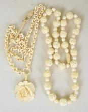 Antique Carved Bone Ladies Necklaces x2 and a Carved Bird Bone Toothpick. 20thc. (3 Items).