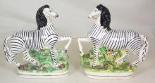 Pair of Antique Staffordshire Pottery Figural Zebras, 19thc. Height 8.5 Inches. (2 Items). 1st Quality.