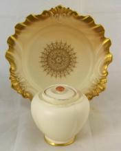 Royal Worcester Blush Ivory/Gilded Cabinet Plate Circa 1889. Also Blush Ivory/Gilded Lidded Pot. Circa 1892. (2 Items)